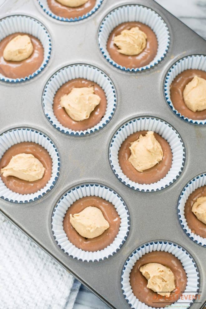 Peanut Butter Balls Placed in cupcake tins