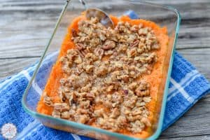 Close Up of Lightened Up Sweet Potato Casserole