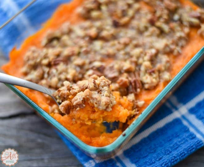 Lightened Up Sweet Potato Casserole is my favorite side dish at Thanksgiving