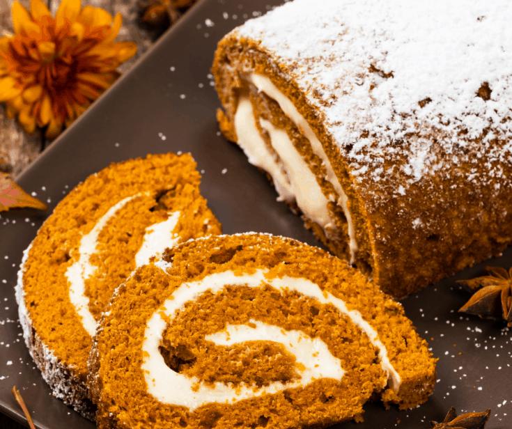 Pumpkin Cake Roll Slices