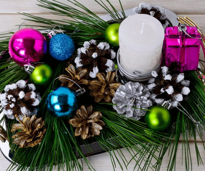 Christmas decor using epsom salt