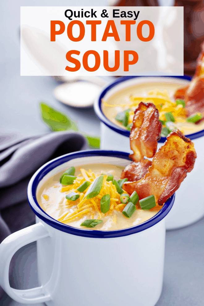 Potato Soup topped with bacon, cheese and chives