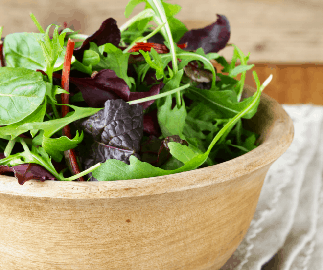 Salad Greens in Brown Bowl