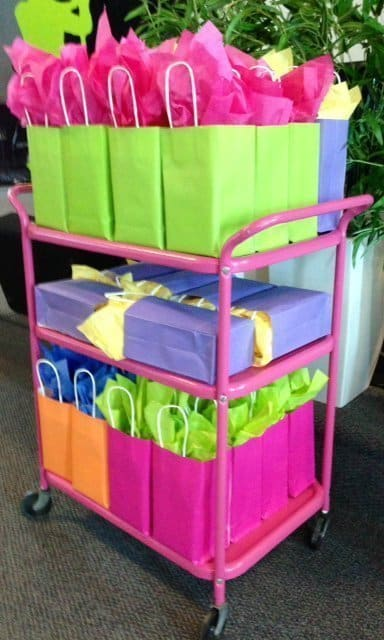 Here is the cart filled with a few of the Mother's Day gifts for the ladies of FFC!
