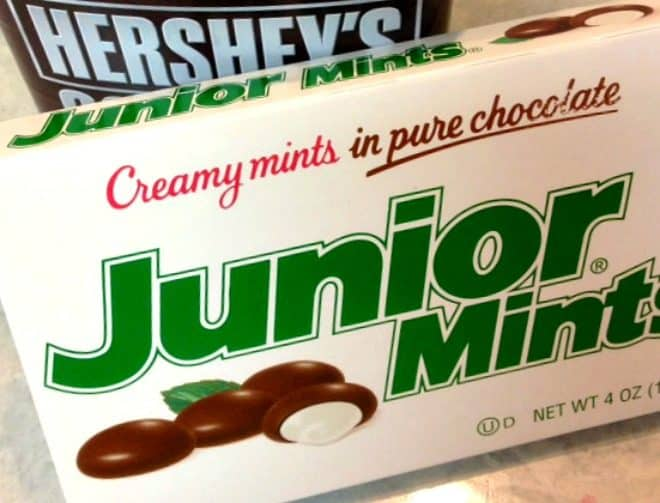 Junior Mints are used in my Minty Cocoa Mousse