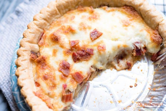 Leftover BLT Pie in tin pie pan