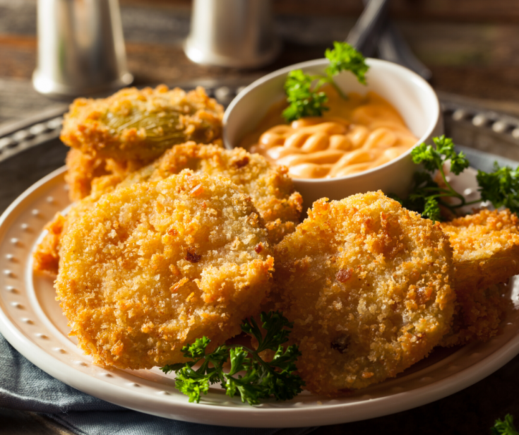 Fried Green Tomatoes on a white plate