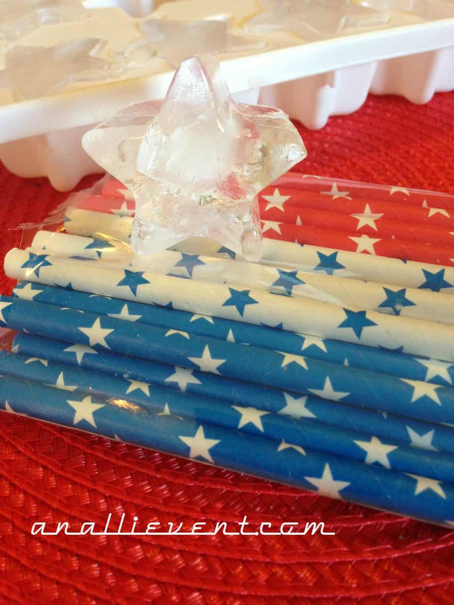 Star shaped ice cubes and patriotic drinking straws!