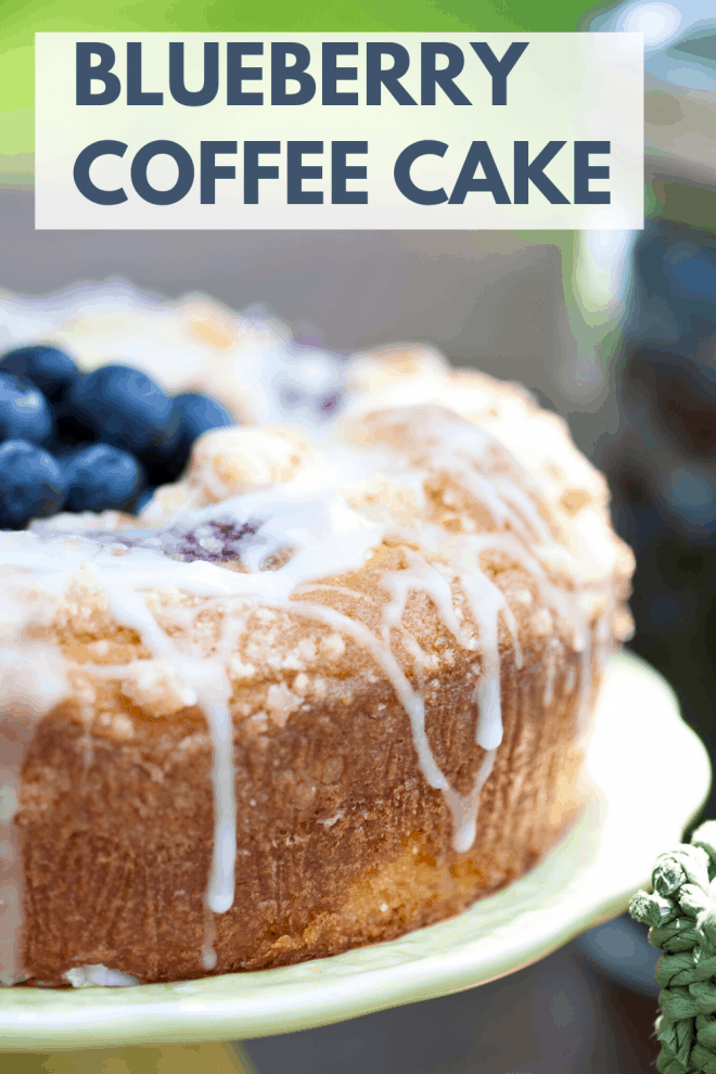 Blueberry Streusel Coffee Cake topped with fresh blueberries