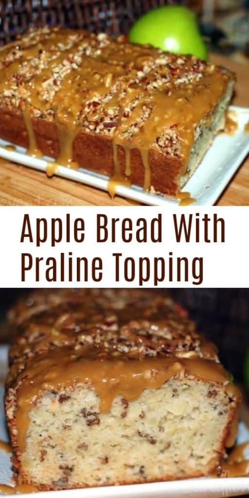 Apple Bread With Praline Topping on brown cutting board