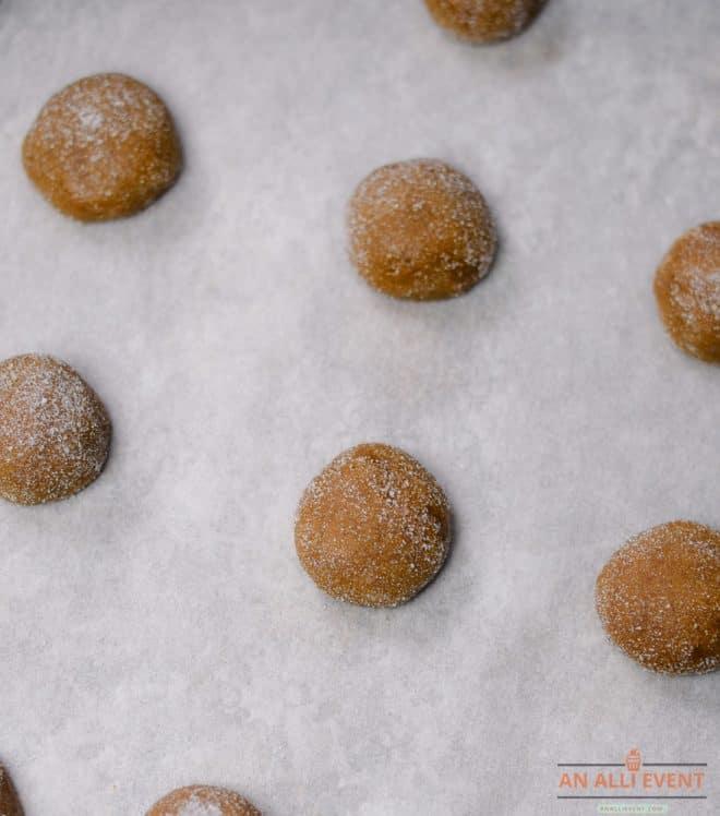 Gingersnap Cookies - Roll in sugar before baking