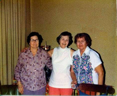 Grandma (Opal) on the left with her sisters, Pearl and Dot.