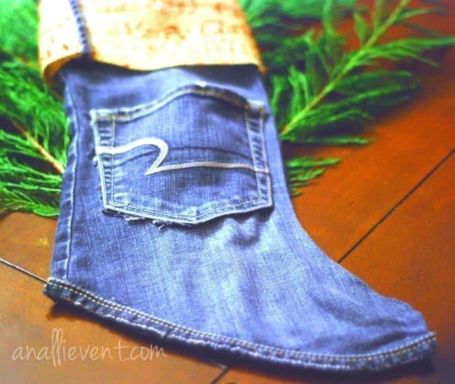 no sew denim stocking on greenery