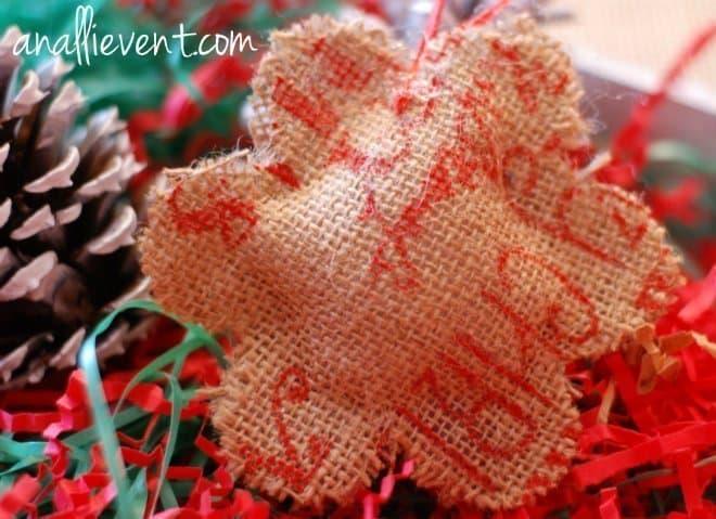 burlap snowflake ornament
