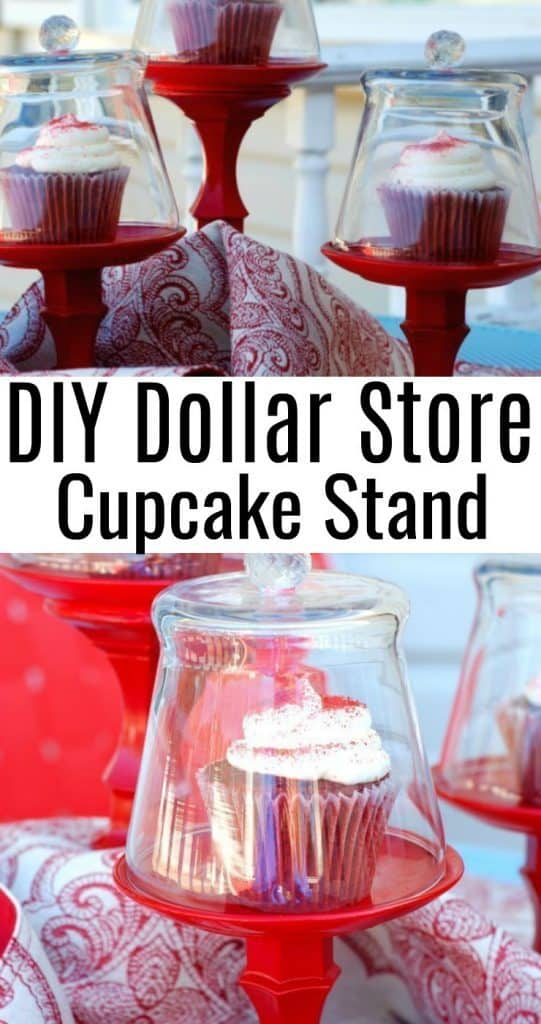 DIY Dollar Store Cupcake Stand - Red with glass dome cover