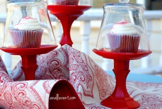 Red DIY Dollar Store Cupcake Holder with Red Velvet Cupcakes Under Glass Dome