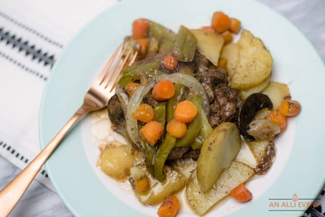 Hamburger Hobos on plate with veggies