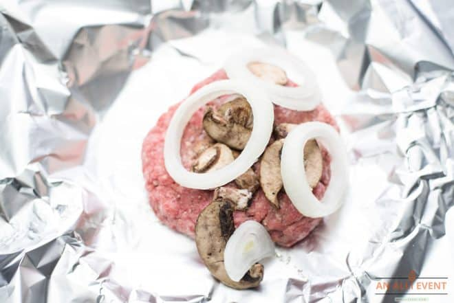 Hamburger Patties topped with mushrooms and onions