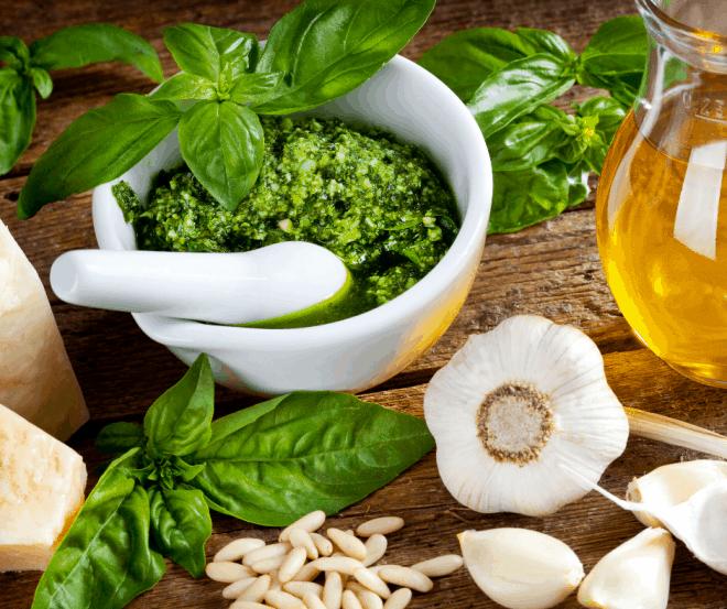 Pesto In White Bowl - Favorite Herbs