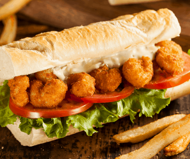 Fried Shrimp on Hoagie Rolls - Shrimp Po' Boys