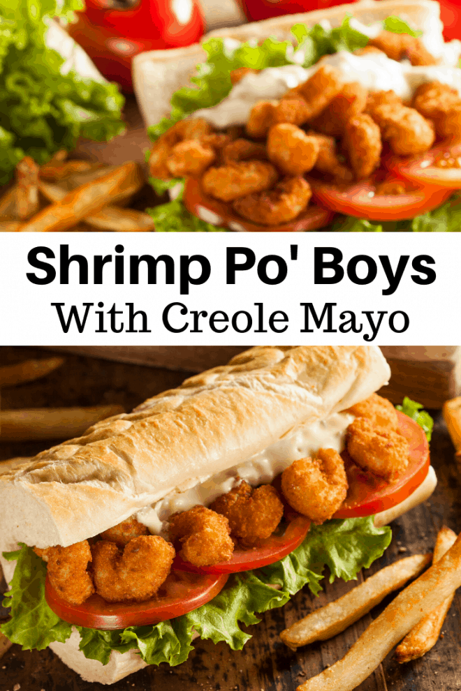 Crispy fried shrimp Po Boys on Hoagie Roll With Creole Mayo