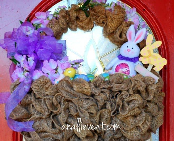burlap easter basket wreath #Easter