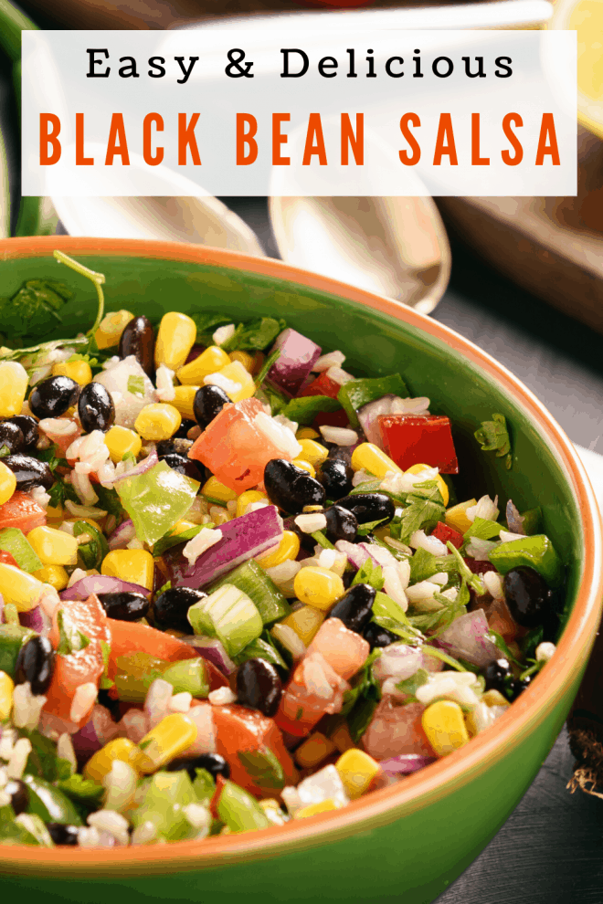 Black Bean Salsa in green bowl