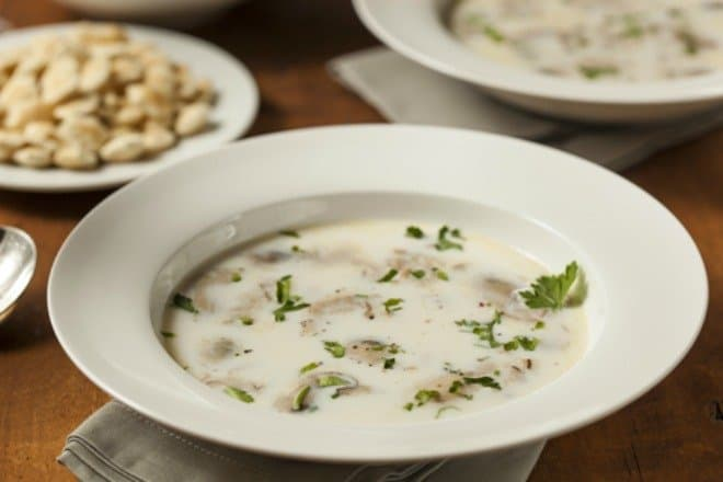 Oyster Stew in white bowls