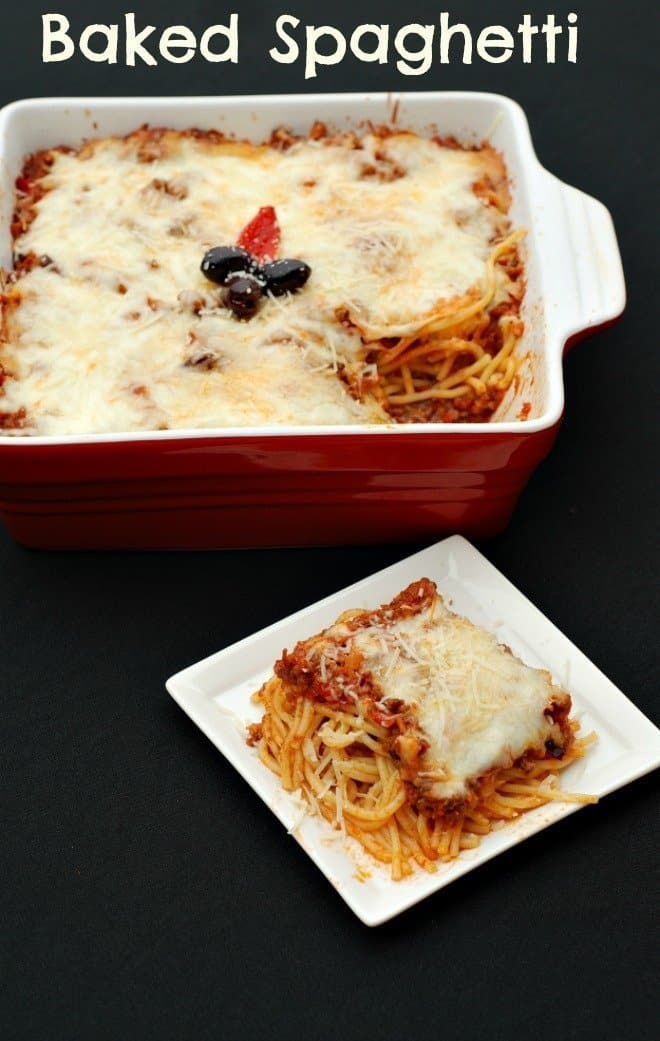 Baked Spaghetti in a red baking dish and a serving in a white plate