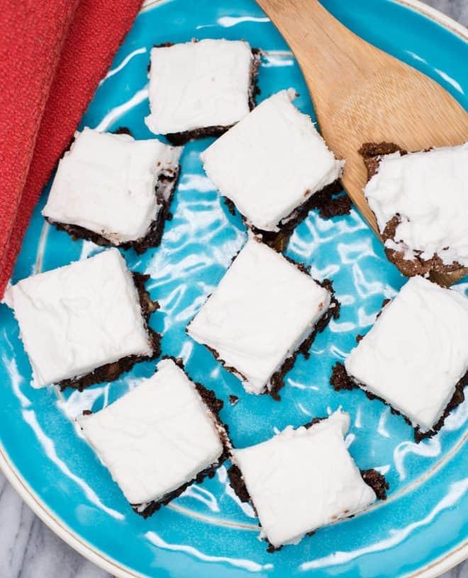 Homemade Macadamia Nut Brownies on serving platter