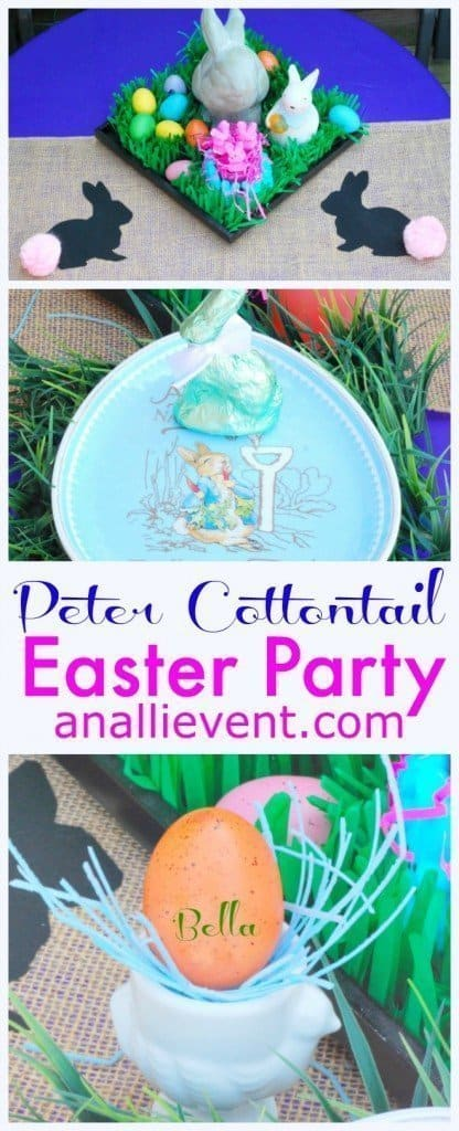 Celebrate Spring and Easter with a Peter Cottontail Garden Party & Egg Hunt!  My DIY Bunny Table Runner is so easy to make.