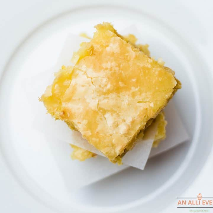 Two lemon squares on a white plate