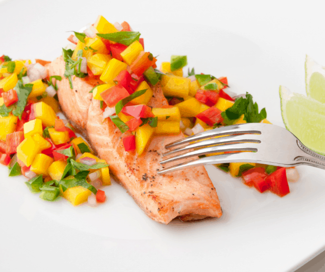 Mango Salsa over Salmon Fillet
