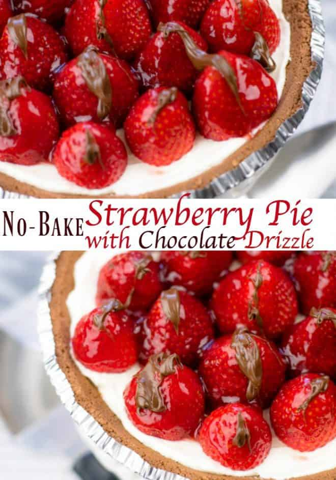 No-Bake Strawberry Pie with Chocolate Drizzle