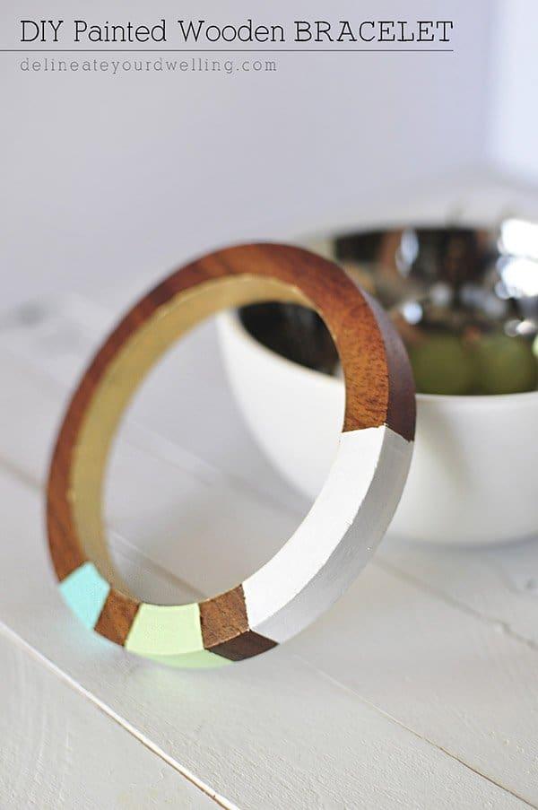 DIY Pained Wooden Bracelet