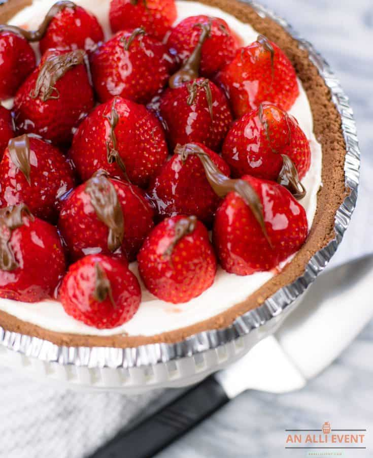 Strawberry Pie with Chocolate Drizzle