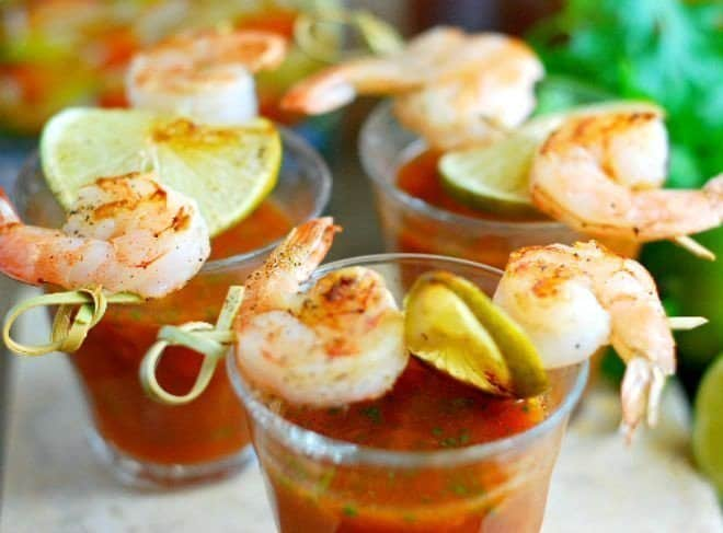 Gazpacho Shooters & Grilled Shrimp Skewers