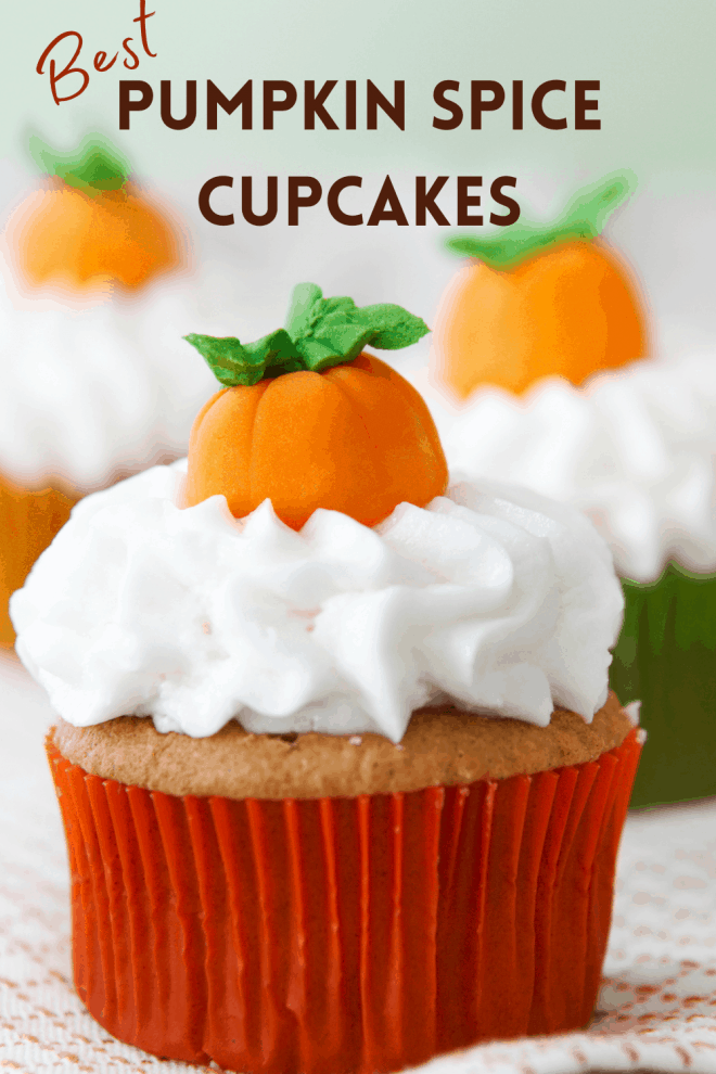 Pumpkin Spice Cupcakes with little orange pumpkins on top