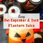 Owl Cupcakes and Jack O' Lantern Juice