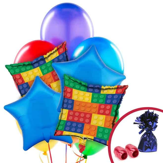 Balloon Bouquet for Legos Inspired Birthday Party