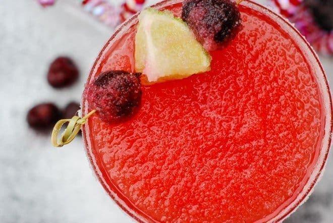 Faux Pink Champagne - Cherry Margarita Mocktail with garnishes
