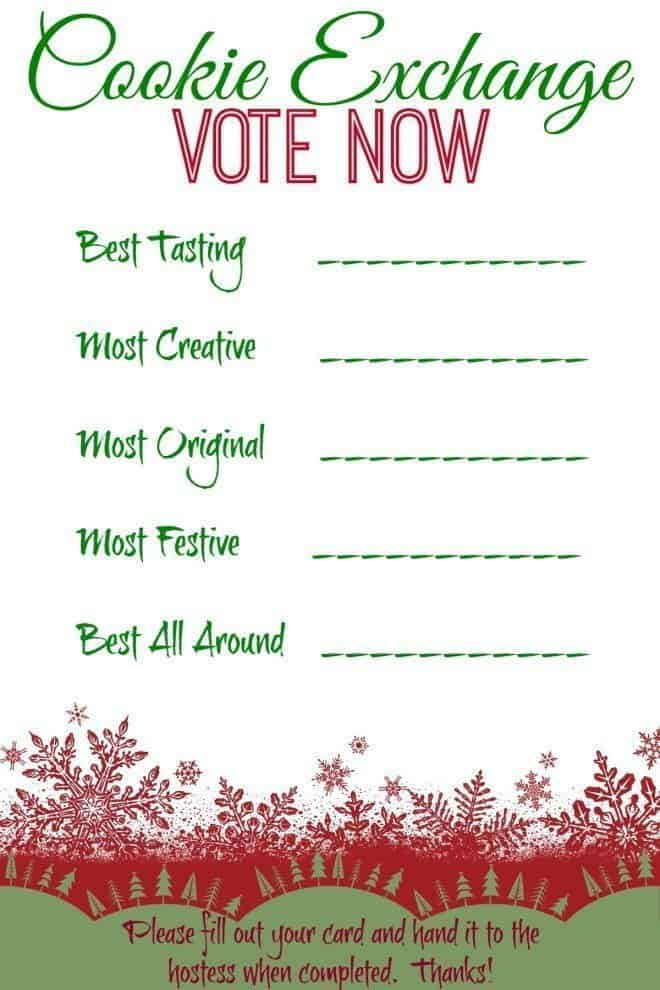 FREE Cookie Exchange Printable so everyone can vote for their favorite cookie.