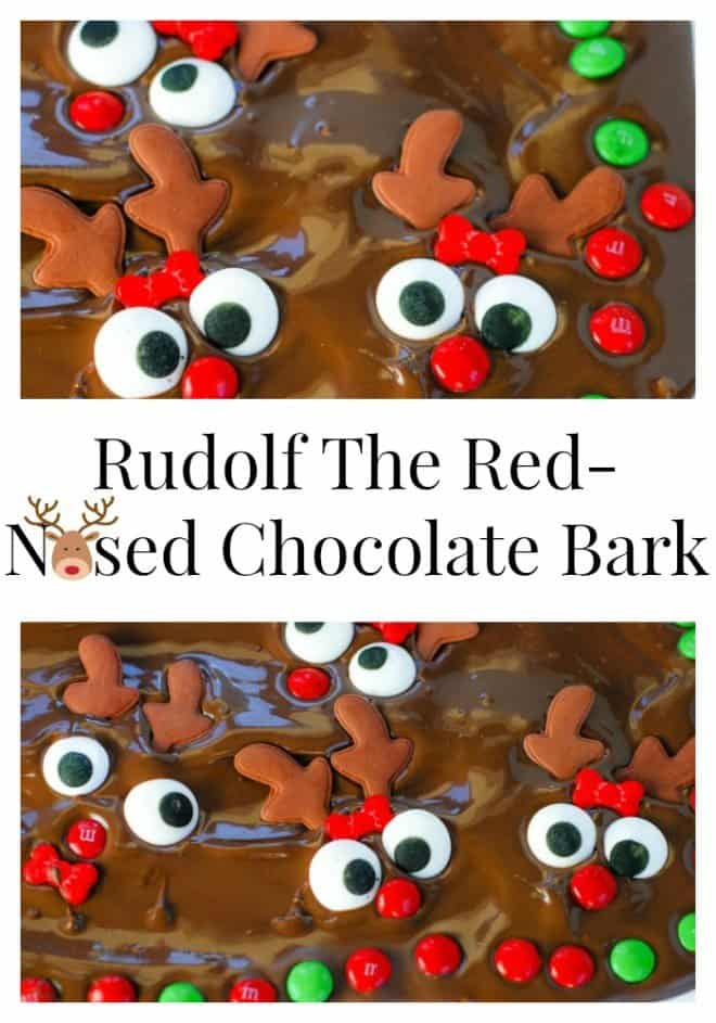 Rudolf the Red-Nosed Chocolate Bark is a fun holiday project to do with the kids!