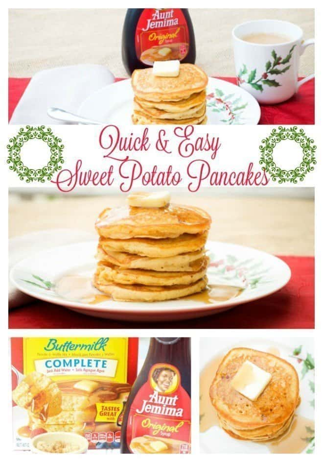 Sweet Potato Pancakes are perfect for family holiday breakfast and brunch get togethers. Aunt Jemima gives me a head start and I don't spend all morning in the kitchen.