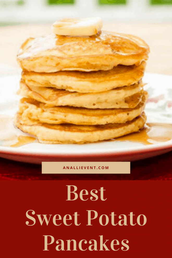 Stack of Sweet Potato Pancakes on White Plate With butter and syrup