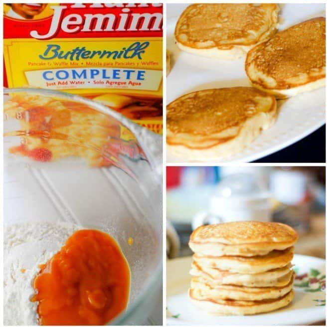 Sweet Potato Pancakes made with Aunt Jemima Buttermilk Complete