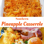 Southern Pineapple Casserole topped with buttery crackers and drizzled with butter before baking to a golden brown