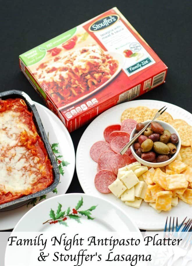 The holidays can be hectic! It's a good thing I have STOUFFER'S® Lasagna in the freezer! I start off dinner with an antipasto platter. A salad and garlic bread completes my dinner.