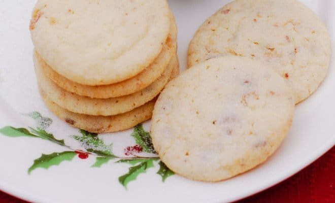 Milk Chocolate Toffee Butter Cookies On White Plate