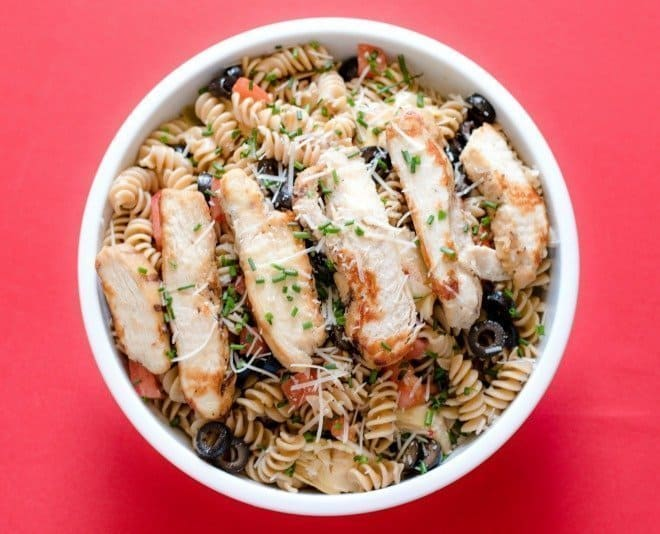 Grilled Chicken Rotini with Olives & Artichokes